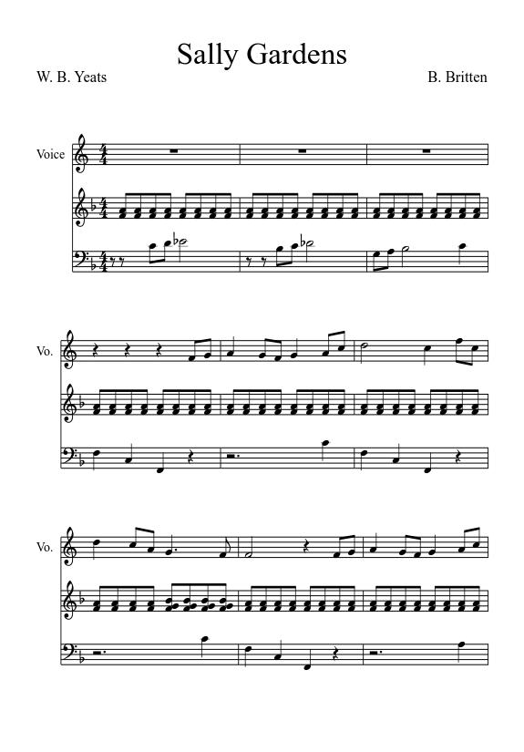 score 0 - Down By The Salley Gardens Britten Sheet Music Pdf