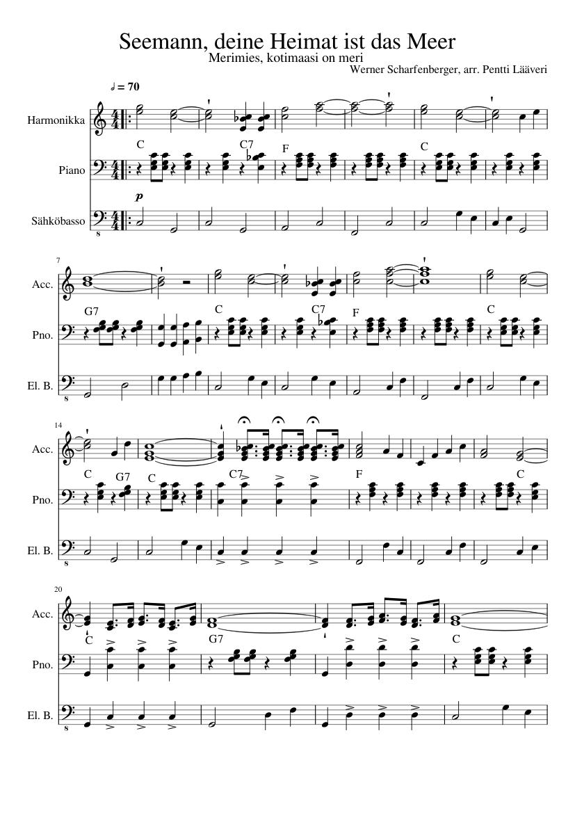 Seemann Deine Heimat Ist Das Meer Sheet Music For Piano Bass Accordion Mixed Trio Musescore Com