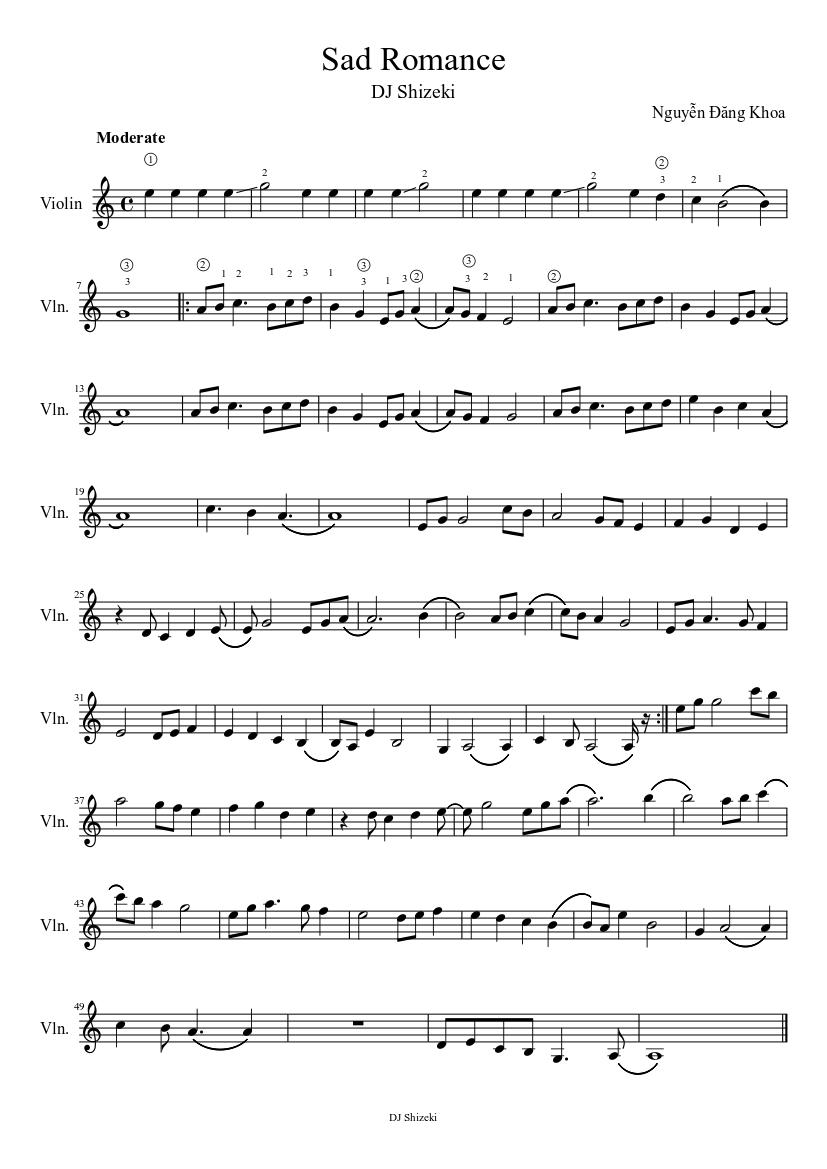 Sad Romance sheet music download free in PDF or MIDI