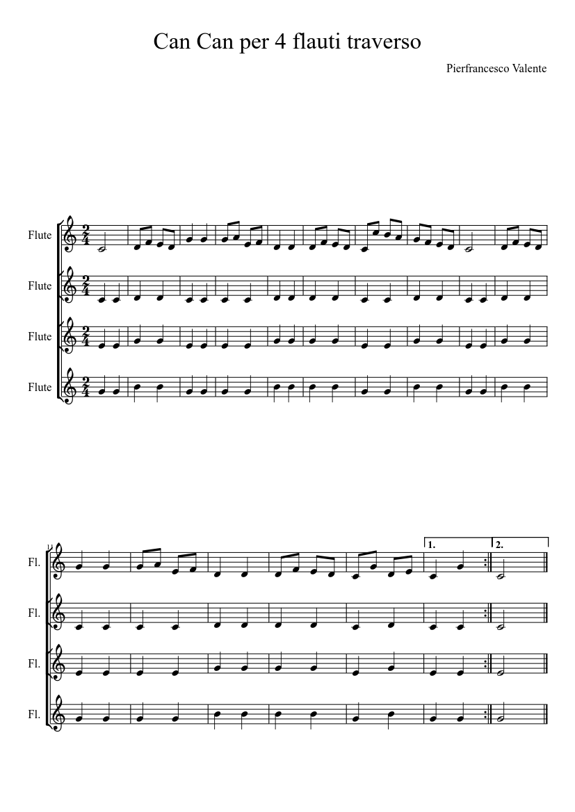 Can Can 4 Flutes Transcription Sheet Music For Flute Download Free