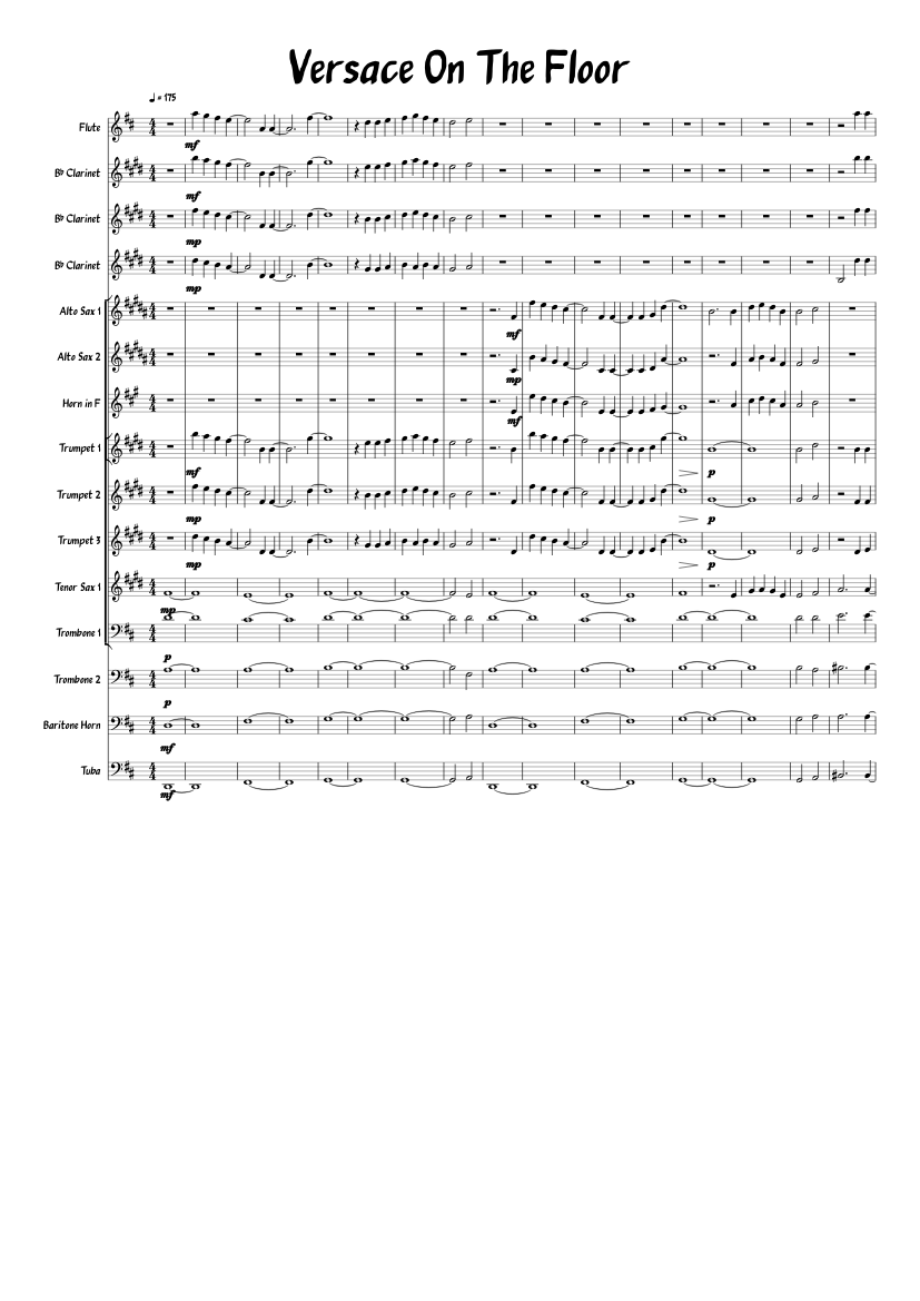 Versace On The Floor Sheet Music For Flute Clarinet Alto