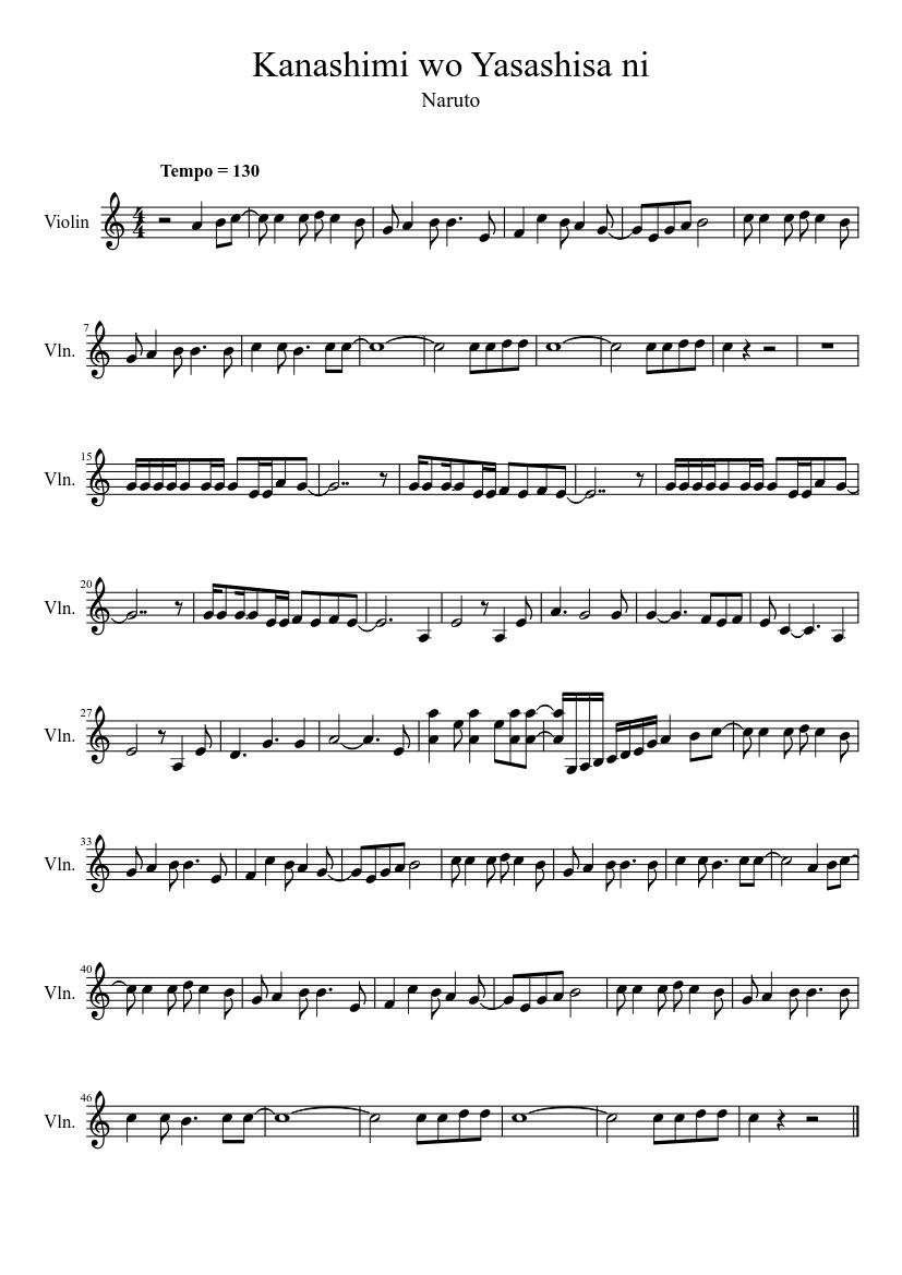 Kanashimi wo yasashisa ni-naruto op free piano sheet music & piano.