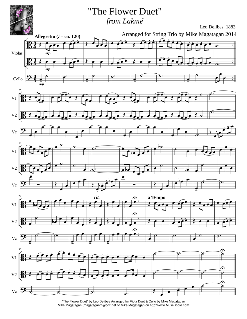 """""""The Flower Duet"""" from Lakmé sheet music composed by Léo Delibes, 1883 –"""
