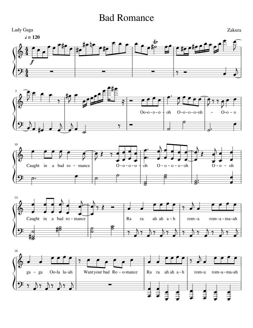bad romance lady gaga piano sheet music free