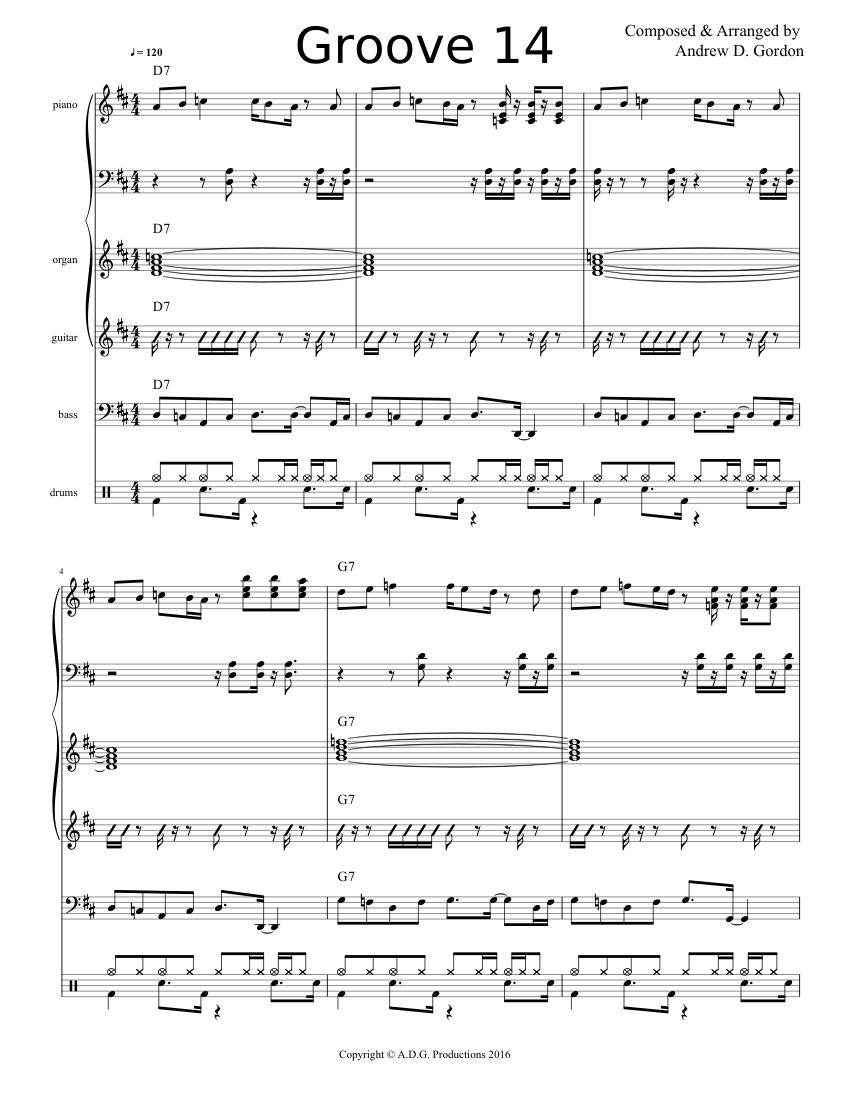Blues/Funk Groove 14 Full Score sheet music for Keyboard