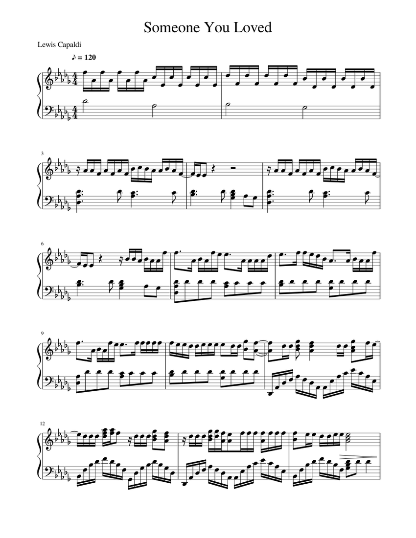 Someone You Loved Sheet Music For Piano Solo Musescore Com