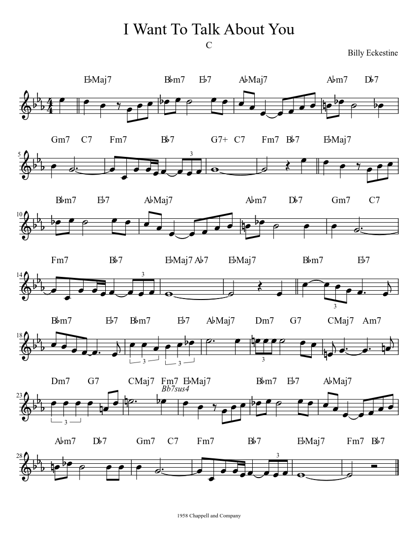 I Want To Talk About You Sheet music for Piano Solo   Musescore.com