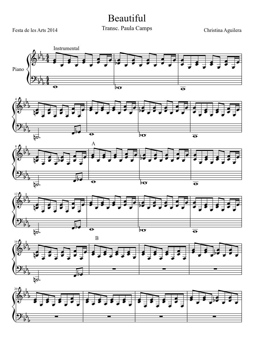 Sheet music digital files to print licensed christina aguilera.