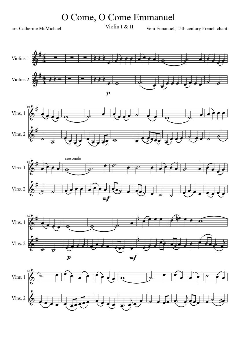 O Come, O Come Emmanuel - Violin 1 & 2 sheet music ...