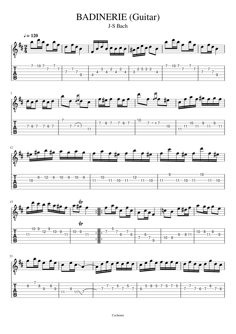BADINERIE suite no2 (Guitare TAB)_J-S-Bach sheet music for