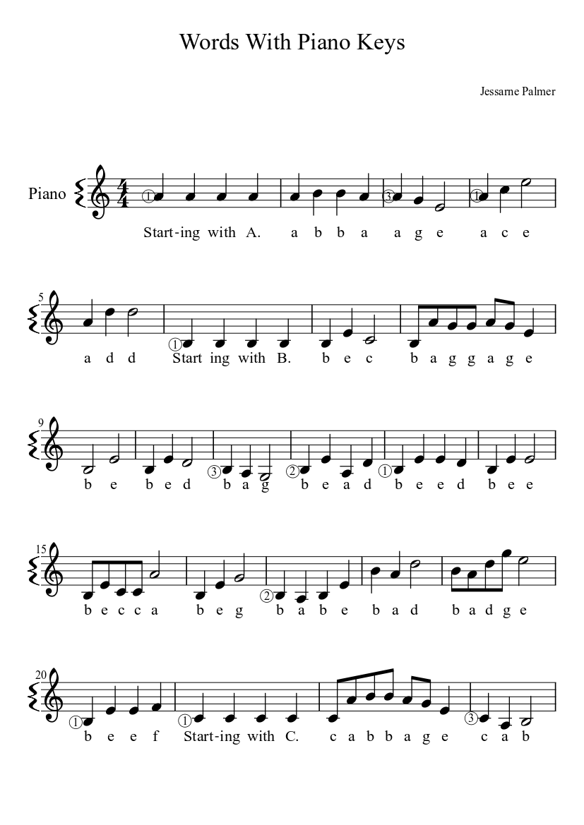 Words With Piano Keys Sheet Music Download Free In Pdf Or Midi