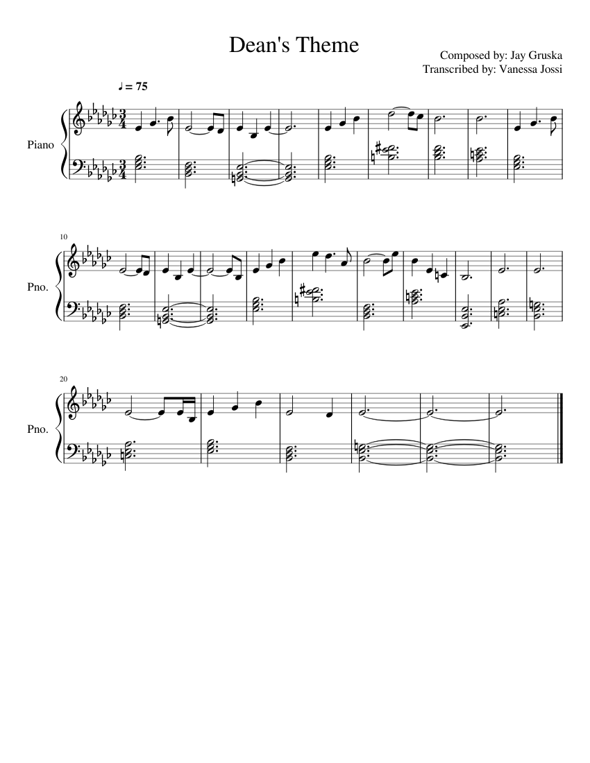 Americana/dean's family dedication theme sheet music for piano.