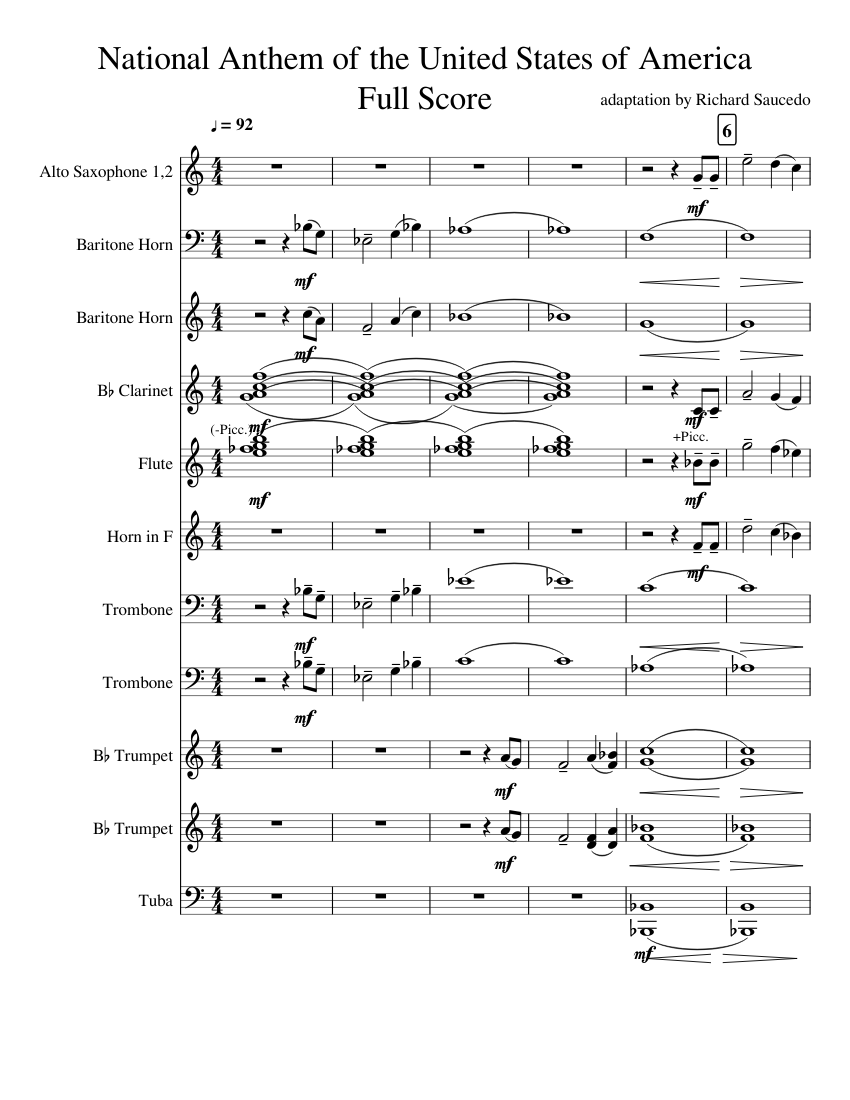 National anthem of the united states of america (full score) sheet.