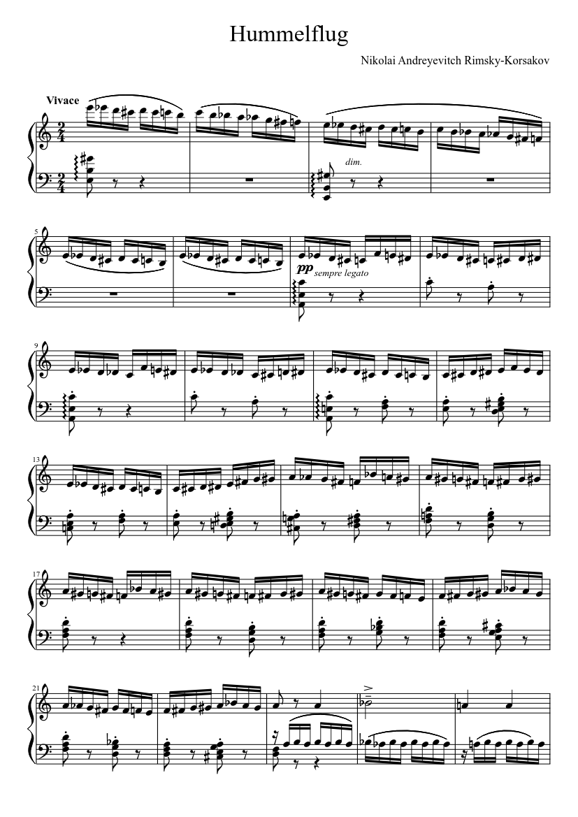 flight of the bumblebee piano sheet music free download