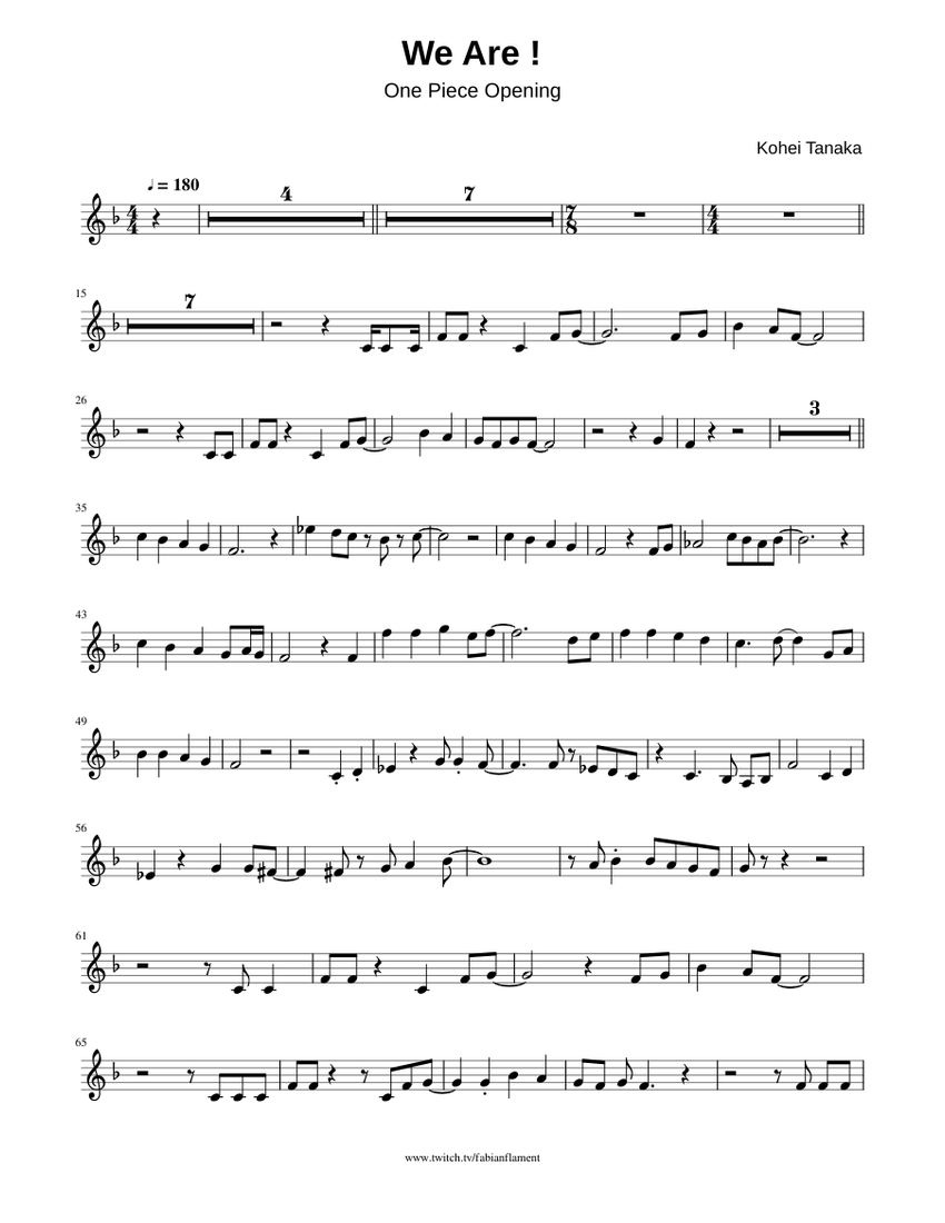 One piece - We Are ! Sheet music for Trumpet (In B Flat ...