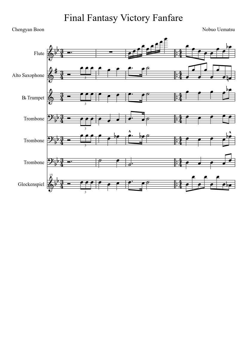 Final fantasy vi victory fanfare (for marching band) sheet music.
