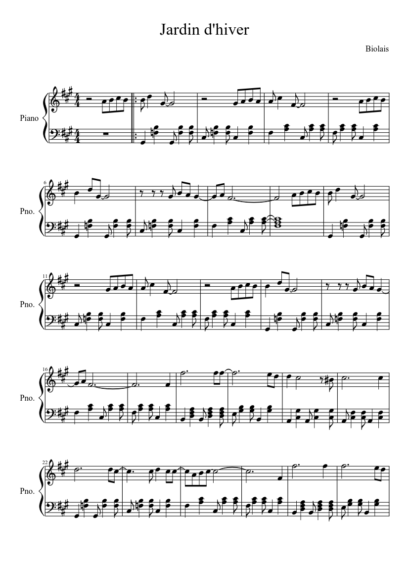 Jardin Dhiver Sheet Music For Piano Download Free In Pdf Or Midi