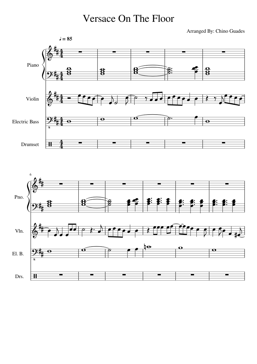 Versace On The Floor Violin Sheet Music For Piano