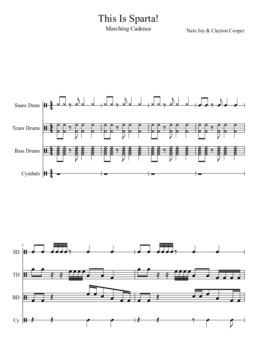 this is sparta cadence sheet music download free in pdf or midi