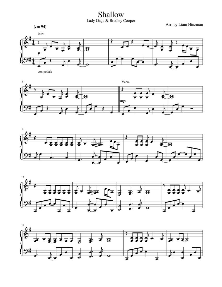 shallow - lady gaga sheet music for piano (solo) | musescore.com  musescore.com