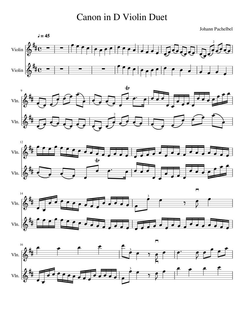 canon in d major piano and violin