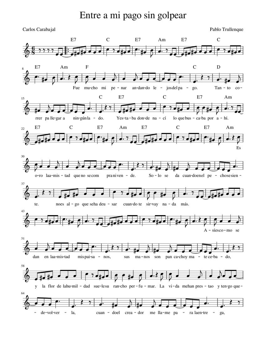 Entre A Mi Pago Sin Golpear La M Sheet Music For Piano Solo Musescore Com