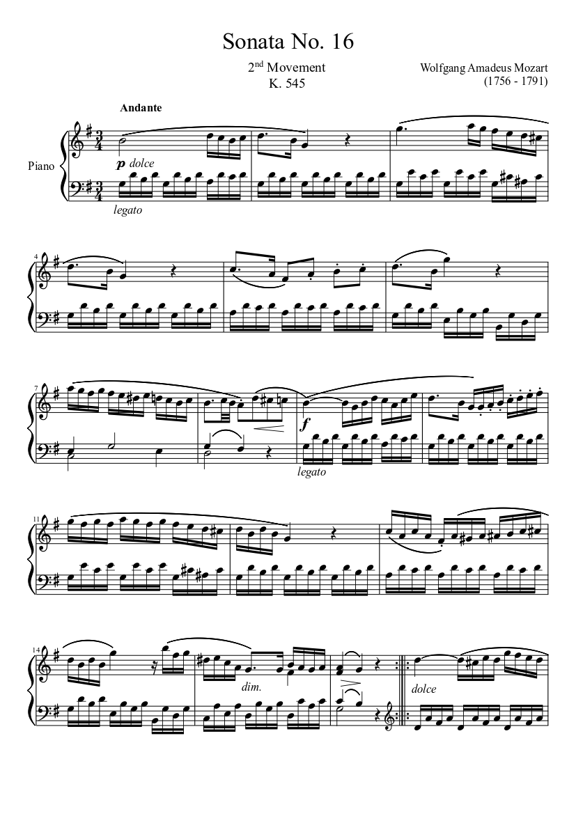 Piano Sonata No.16 in C major, K.545 by Wolfgang Amadeus Mozart sheet music arranged by ClassicMan for Solo – 1 of 5 pages