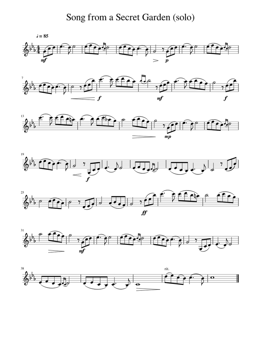 Song From A Secret Garden Solo Sheet Music For Violin Solo Musescore Com
