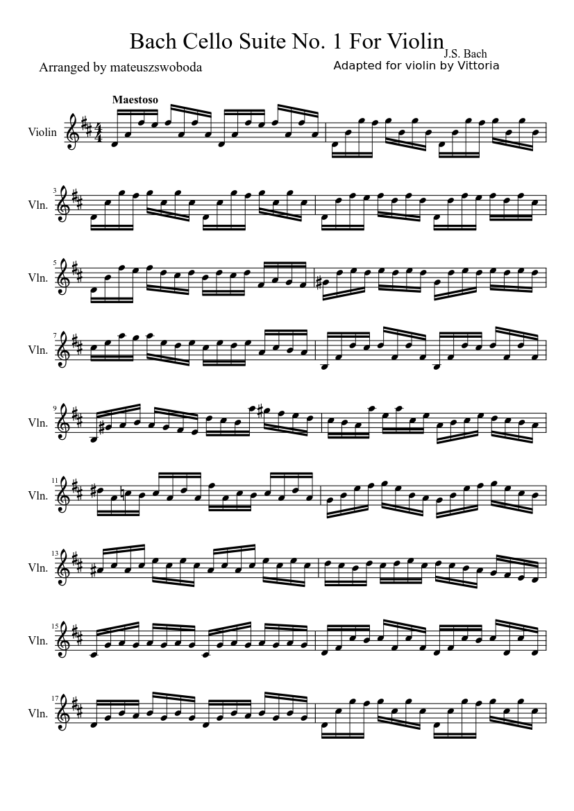 Bach Cello Suite No 1 For Violin Sheet Music For Violin Download