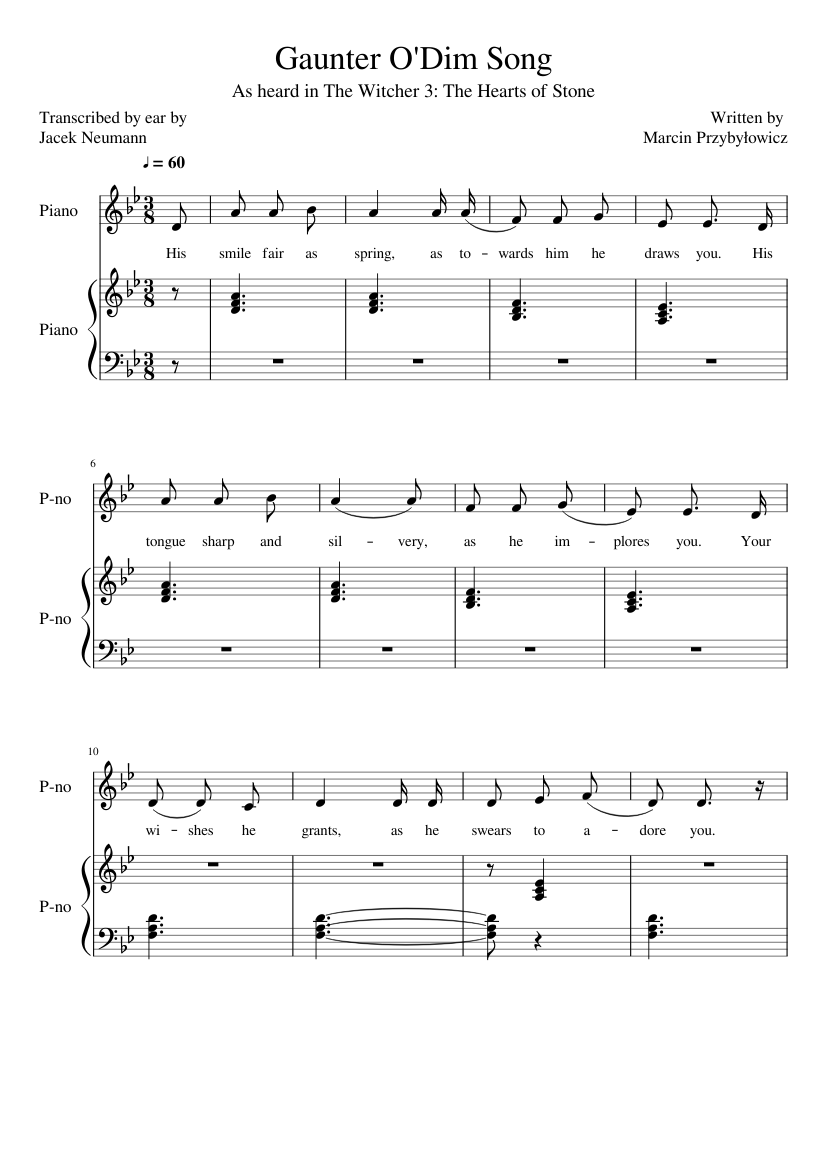 The witcher 3 geralt of rivia sheet music for piano download.