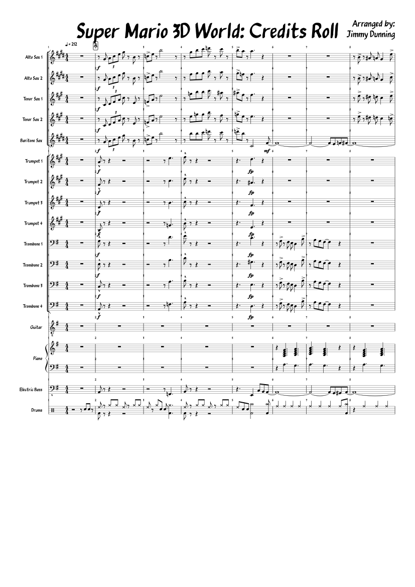 Super mario 3d world: credits roll *finished* sheet music for.