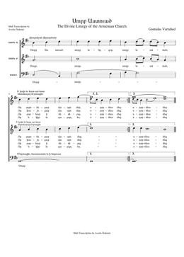 Սուրբ Աստուած - Surp Asdvadz sheet music arranged by Avedis Özdemir for SATB