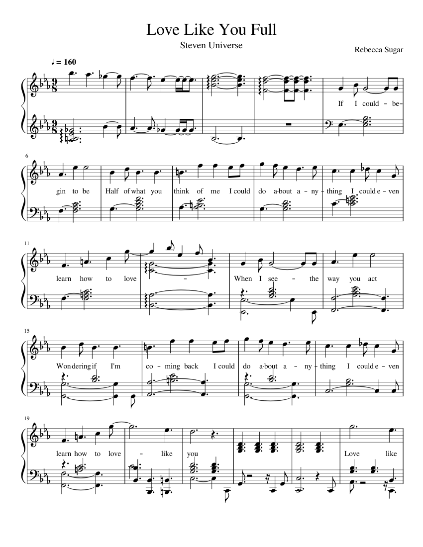 Game Of Love Sheets love like you steven universe sheet music for piano