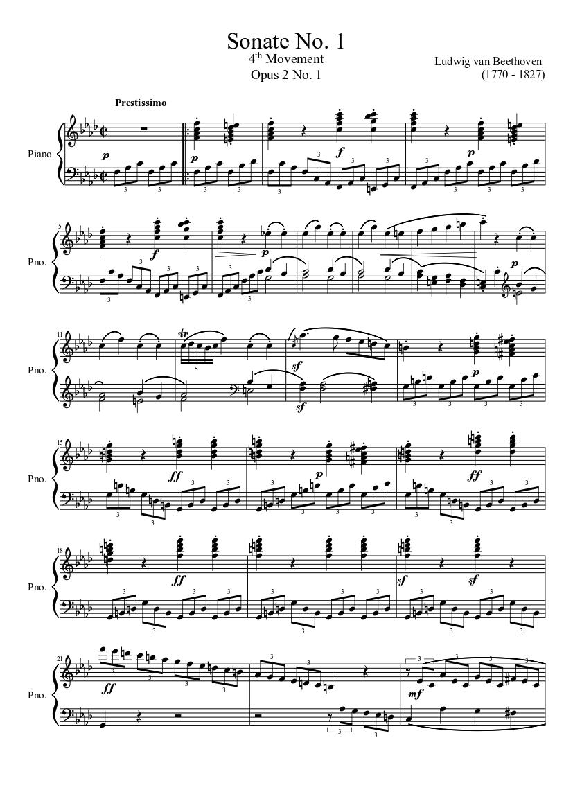 sonate no. 1, 4th movement sheet music for piano (solo) | musescore.com  musescore.com