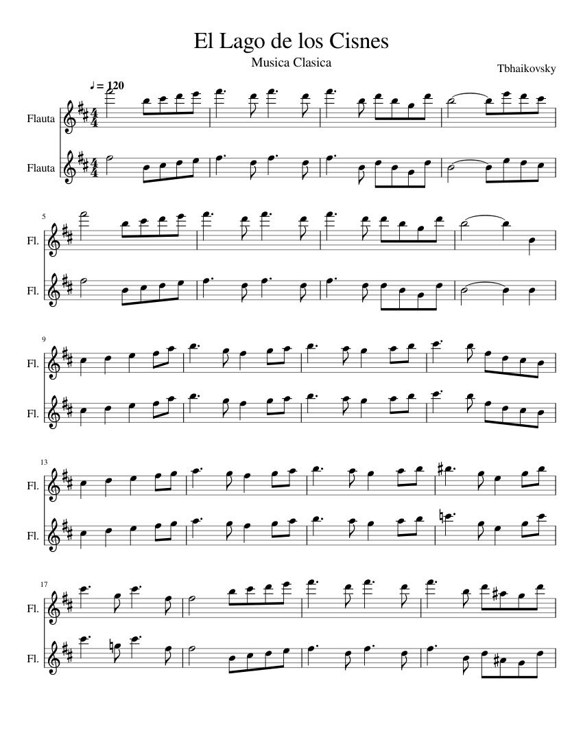 El Lago De Los Cisnes The Lake Of The Swans Sheet Music For Flute Woodwind Duet Musescore Com