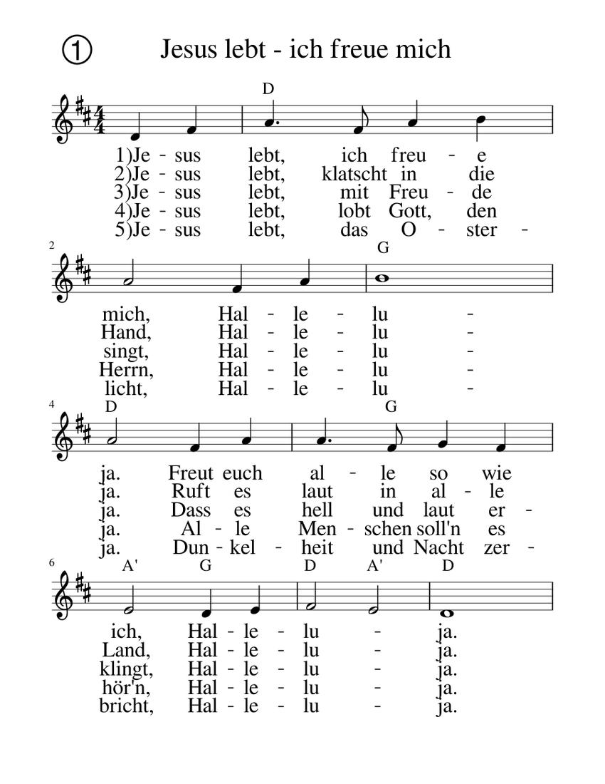 Freue lied jesus mich ich noten lebt Stammteil