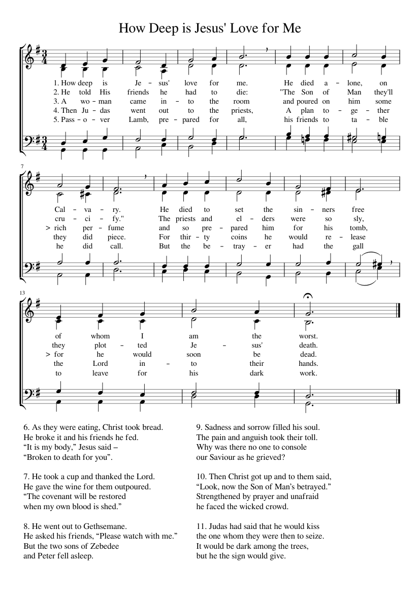 How Deep is Jesus Love for Me sheet music for Voice download free in