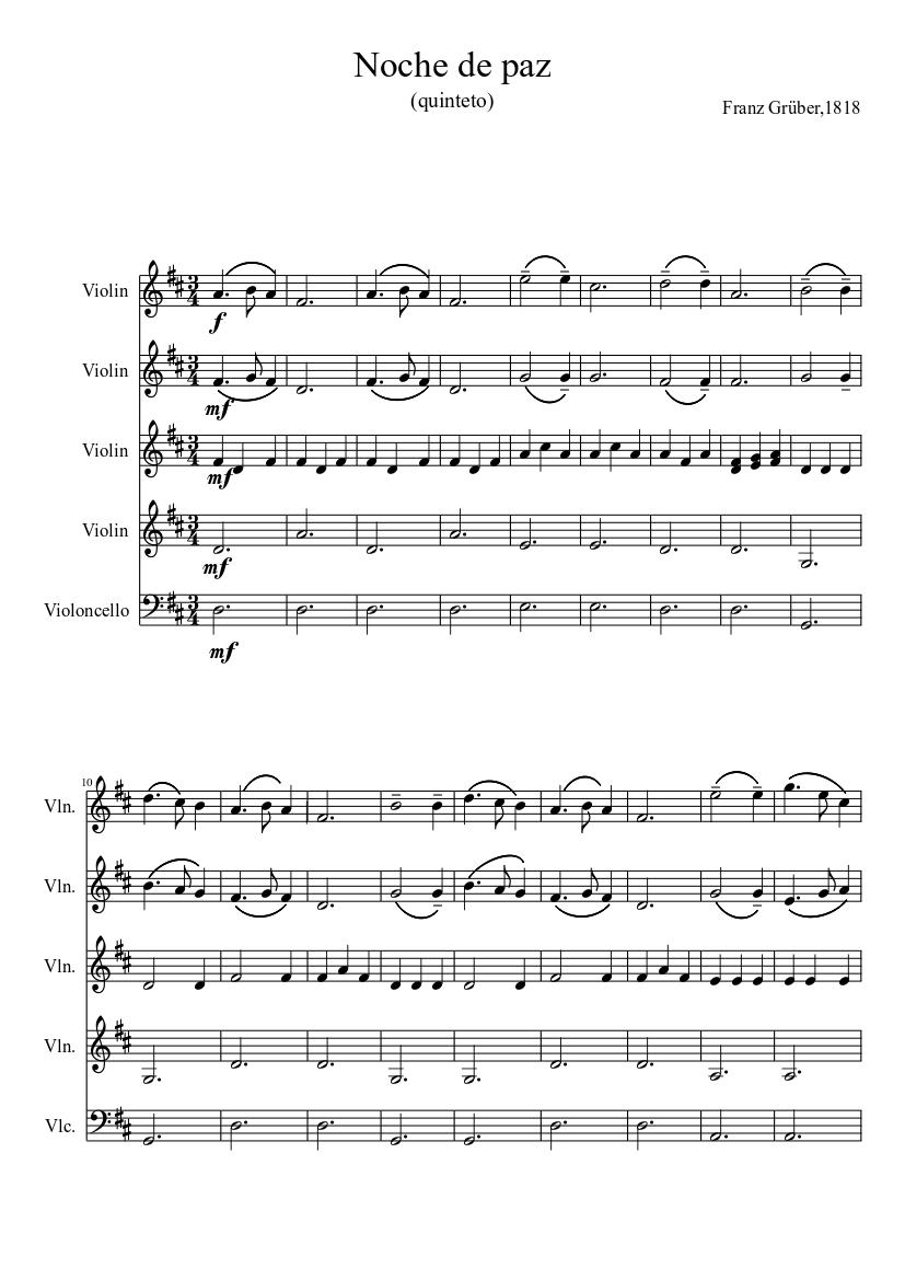 Noche De Paz Quinteto De Cuerda Sheet Music For Violin Mixed Quartet Musescore Com