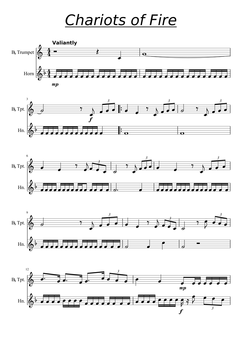 Chariots of fire sheet music for trumpet, french horn download.