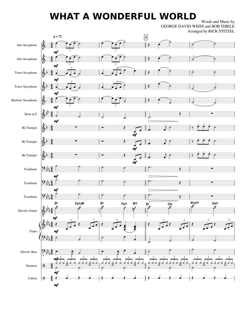 What a wonderful world sheet music for piano, soprano saxophone.