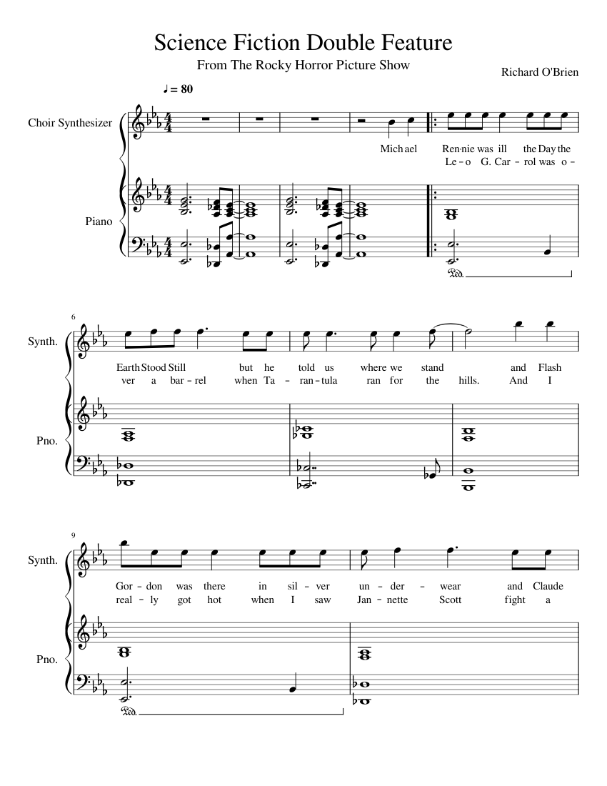 Science Fiction Double Feature Piano And Voice Sheet Music For