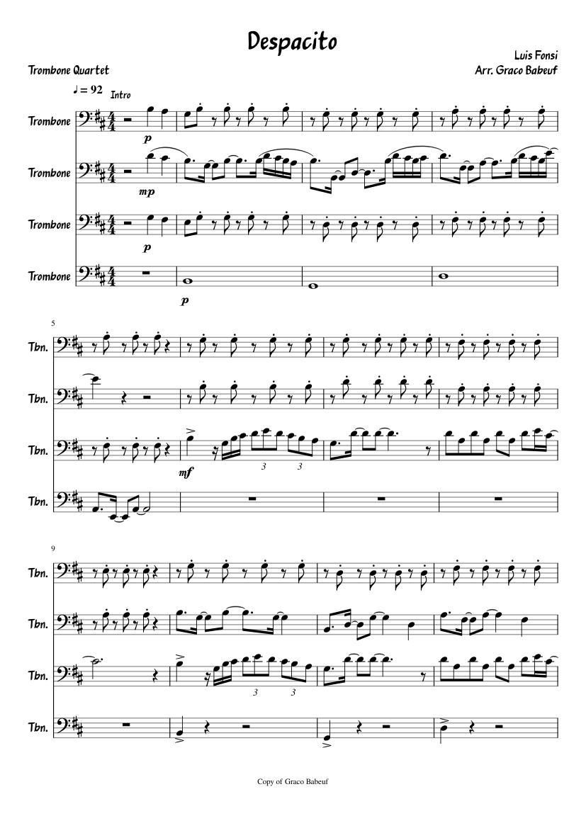 Despacito Sheet Music For Trombone Download Free In Pdf Or Midi