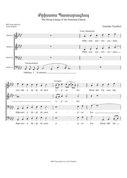 Քրիստոս Պատարագեալ - Krisdos Badarakyal sheet music arranged by Avedis Özdemir for Choral, SATB