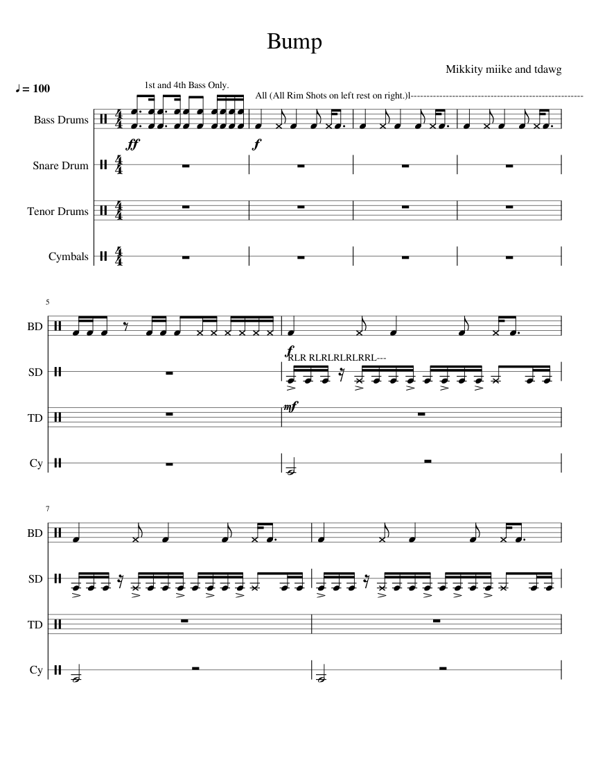 bump drumline cadence sheet music for percussion download free in