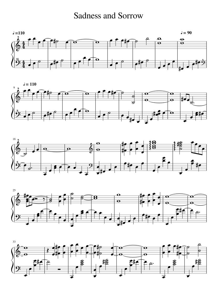 Sadness And Sorrow Sheet Music For Piano Solo Musescore Com
