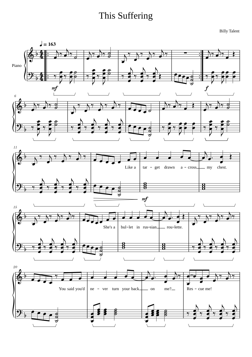This suffering billy talent piano sheet music for piano download.
