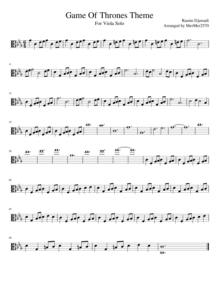 Game Of Thrones Theme Sheet Music For Viola Solo Musescore Com