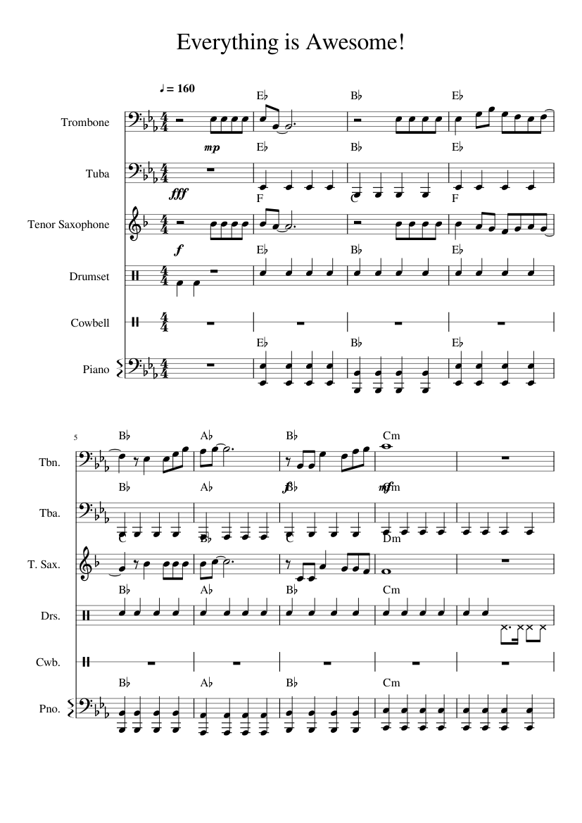 Everything Is Awesome Small Band Arrangement Sheet Music For Piano Trombone Drum Group Tuba More Instruments Piano Sextet Musescore Com