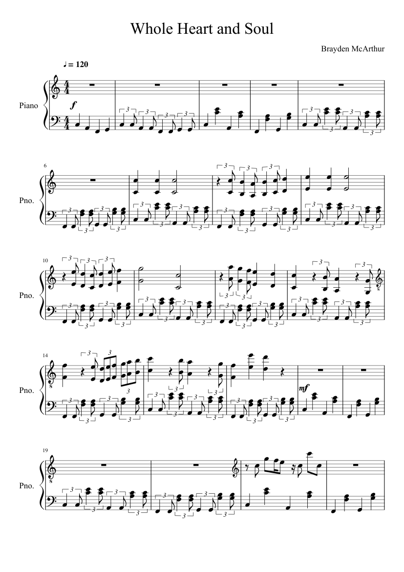 Whole Heart And Soul Sheet Music For Piano Download Free In Pdf Or Midi