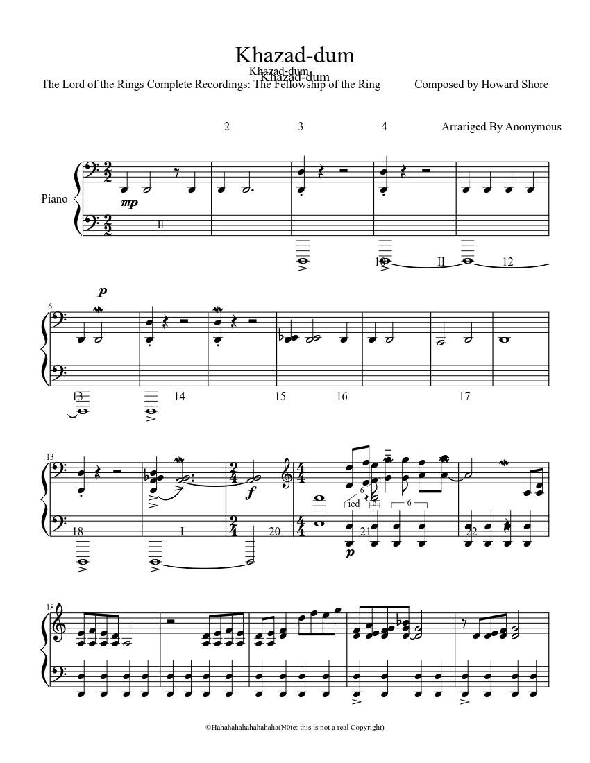 The Bridge Of Khazad Dum Sheet Music For Piano Download